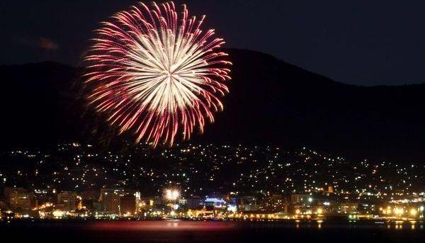 New Years Eve in Hobart city, Tasmania state, Australia.