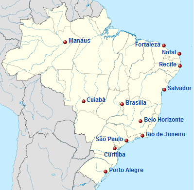 Brazil Map with Matching Cities