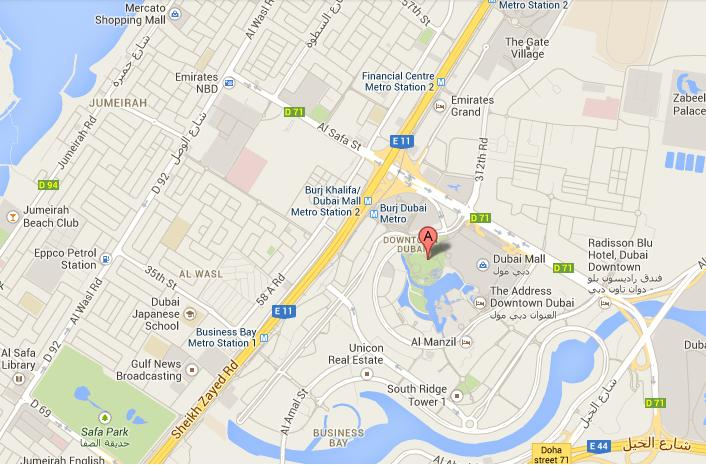 Dubai Location Maps for World Record Largest NYE Fireworks on