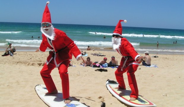 Santa on Beach in Oceania