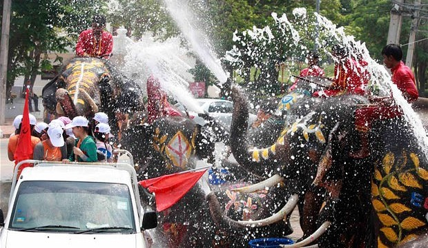 Songkran celebration in Bangkok Thailand