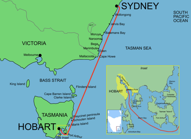 Route Map of Sydney to Hobart Yacht Race