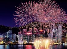 Firework Displays during New Years Eve in Hong Kong